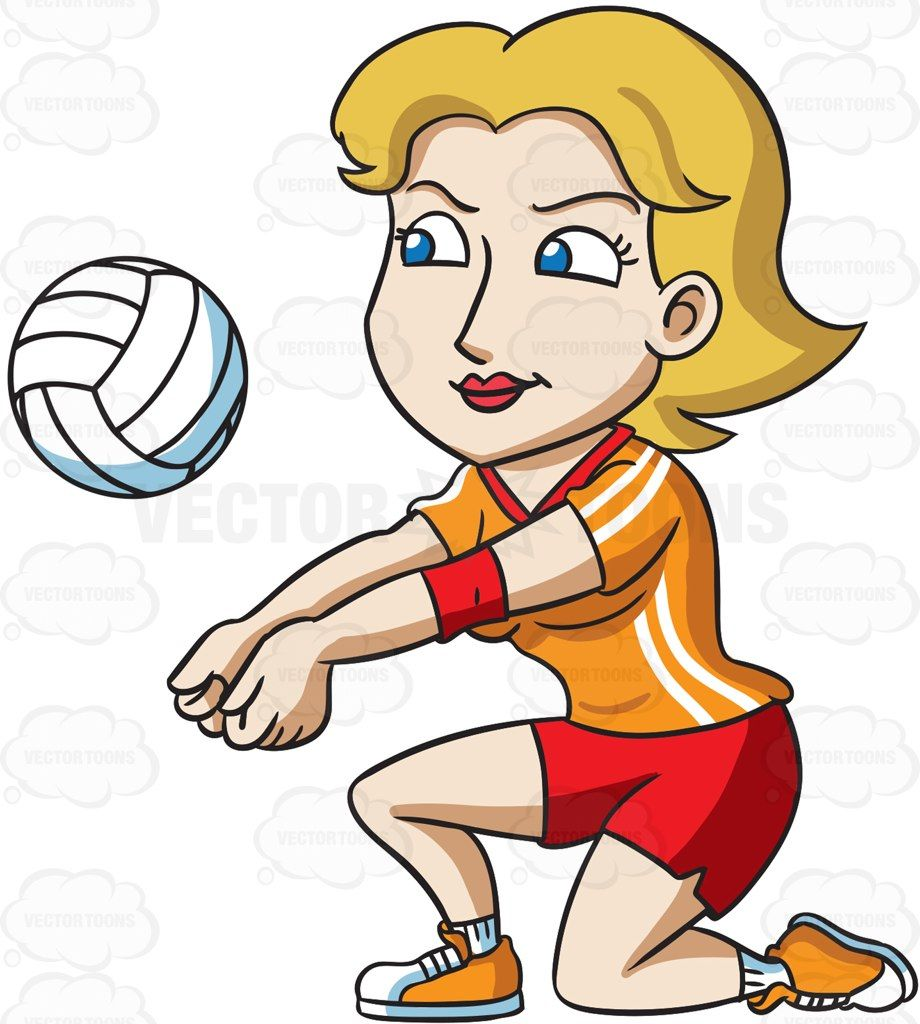 Volleyball clipart cartoon. A female player kneeling