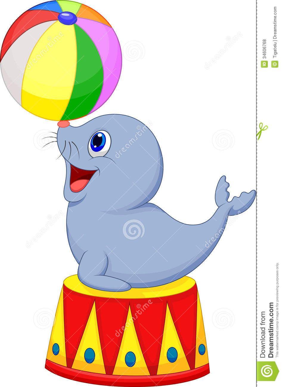 Balls clipart cartoon. Circus seal playing a