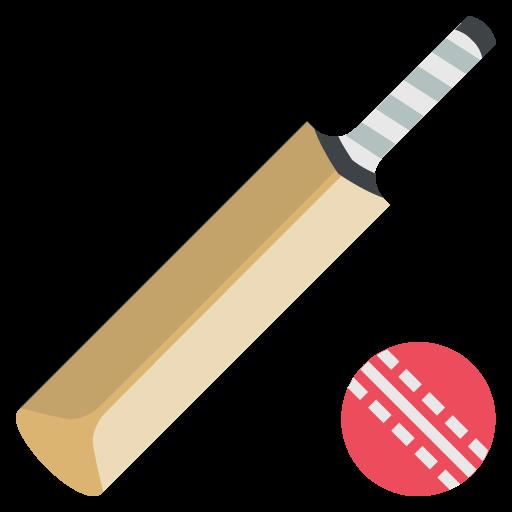 Cricket and ball emoji. Bat clipart boll