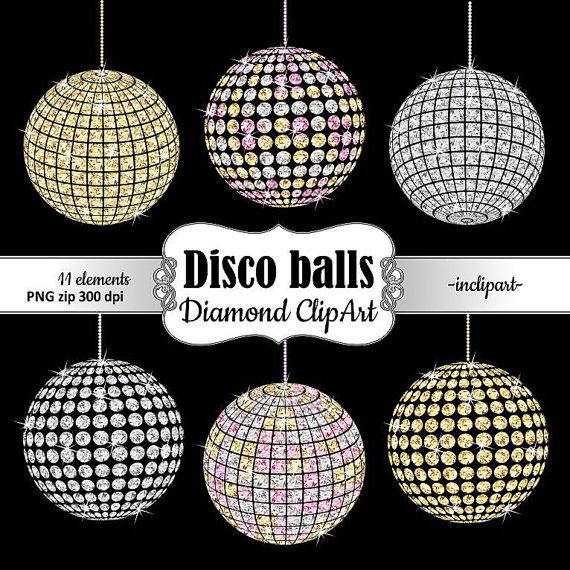 Disco diamond gold white. Balls clipart party