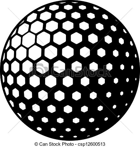Golf ball black and. Balls clipart vector