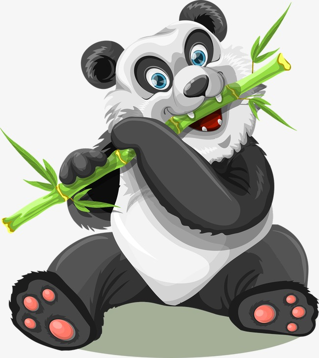 Panda eating green happy. Bamboo clipart animated