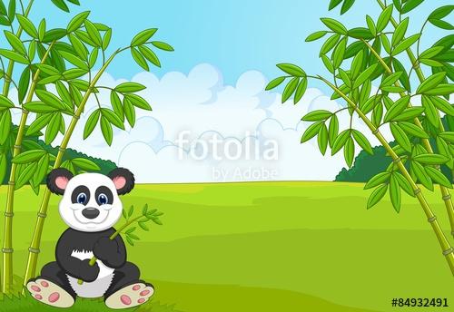 Cartoon cute panda in. Bamboo clipart bamboo forest