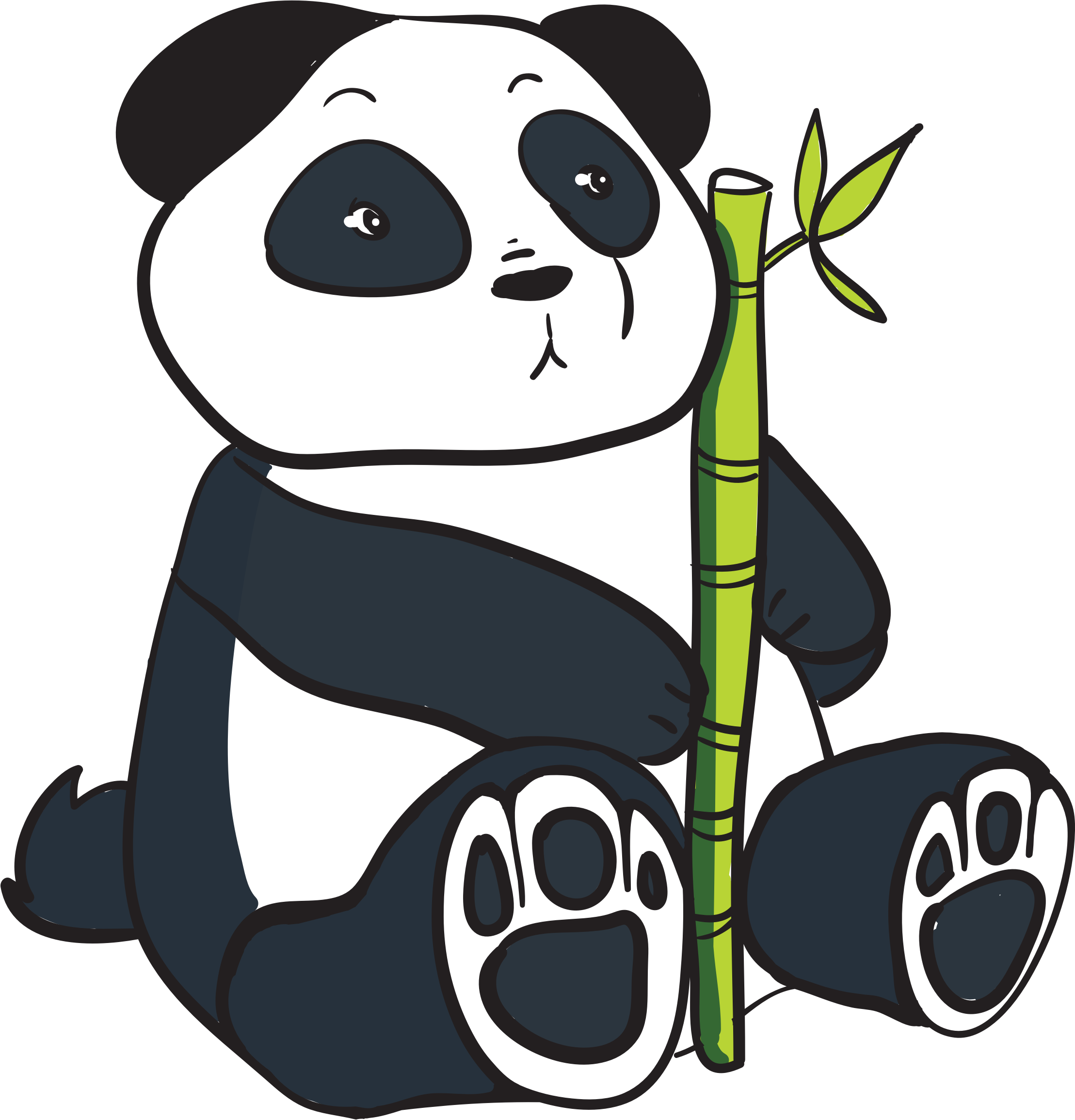 With bamboo stalk icons. C clipart panda