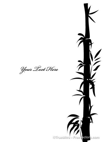 Free tree shapes vector. Bamboo clipart black and white