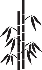 Silhouette clip art image. Bamboo clipart black and white