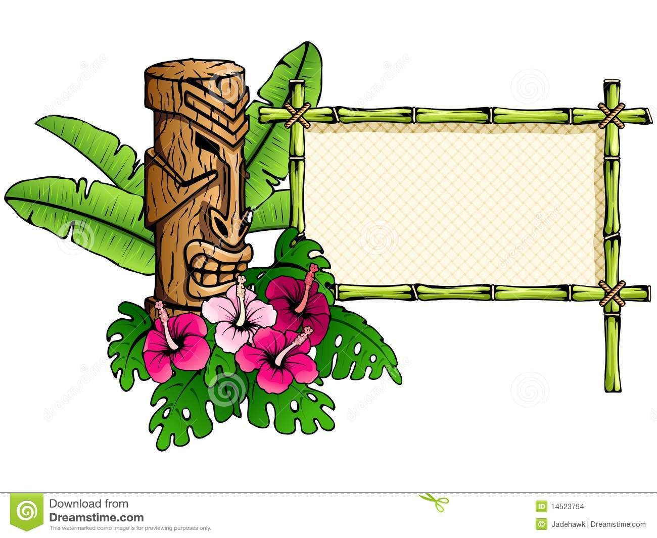 Hawaiian clip art borders. Tiki clipart frame