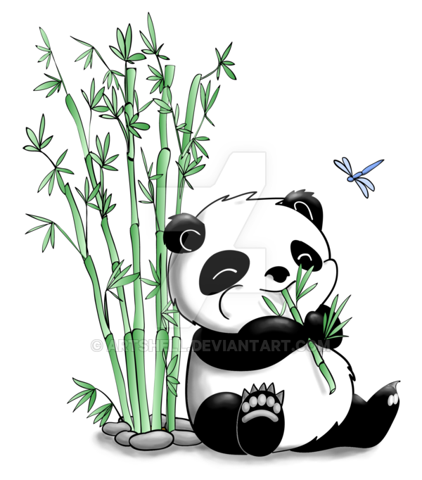 Bamboo clipart panda. Eating by artshell on