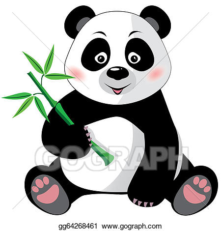 Vector art with isolated. Clipart panda bamboo stick