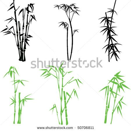 Stock vector artful images. Bamboo clipart silhouette