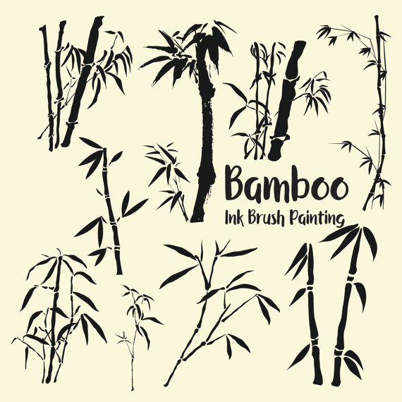 Bamboo clipart silhouette. Japanese chinese ink brush