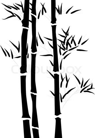 Vector of stencil isag. Bamboo clipart silhouette
