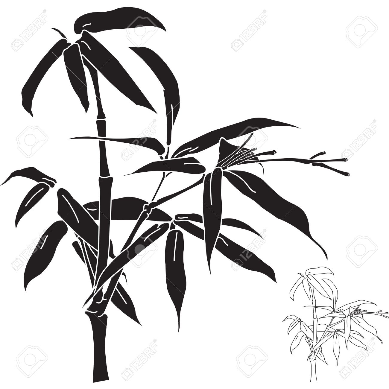 . Bamboo clipart silhouette