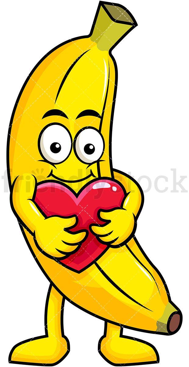 Mascot hugging heart icon. Banana clipart animated