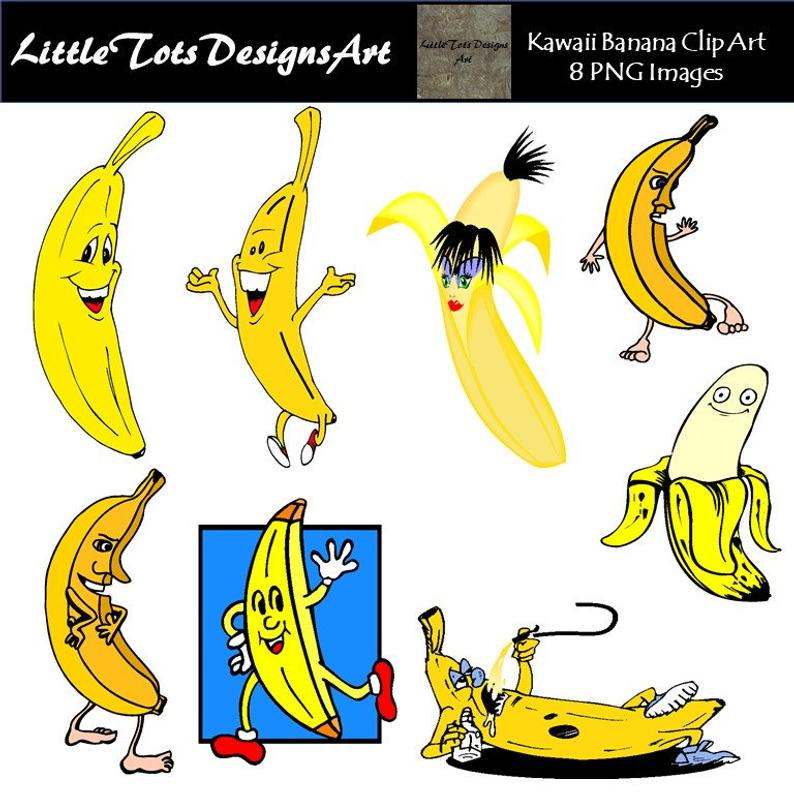 Kawaii fruit scrapbooking digital. Banana clipart babana
