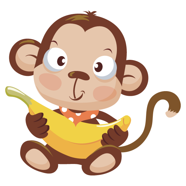 Baby clipart monkey. Image of with banana
