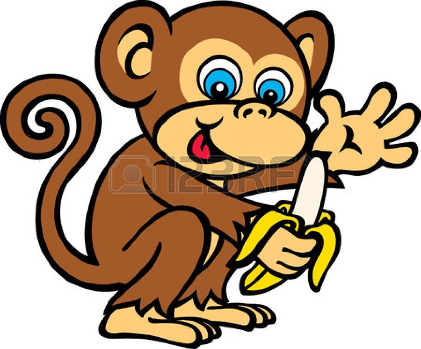 Monkey cartoon . Banana clipart baby