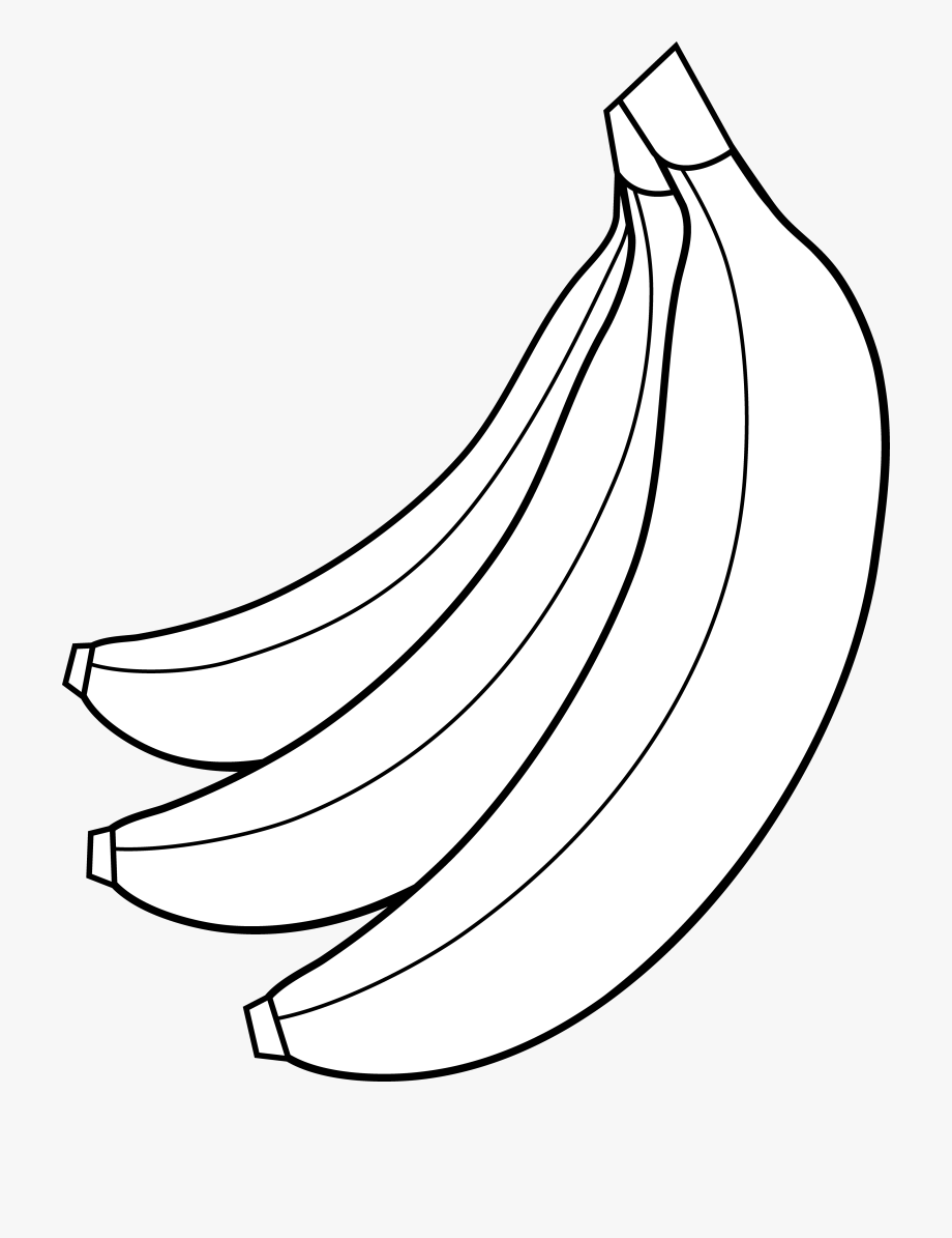 Colorable bunch of bananas. Banana clipart black and white