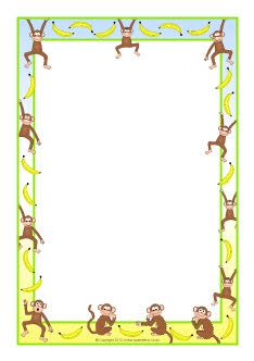 Monkey clipart frame. Monkeys and bananas a