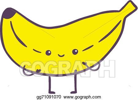 Vector art cute cartoon. Clipart banana character