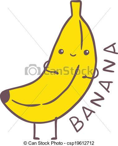 Vector cute cartoon character. Banana clipart illustration