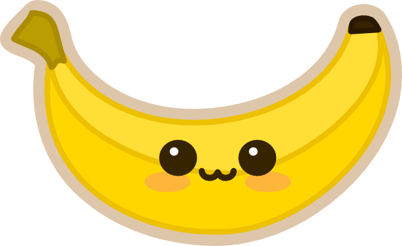 Banana clipart kawaii. Bananabluff s by amis