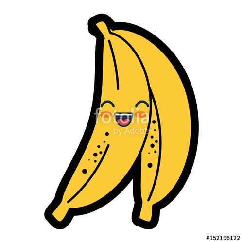 Banana clipart kawaii. Fruit icon over white