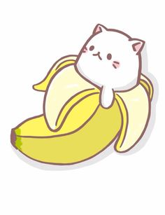 Banana clipart kawaii. Bananya the kitty craze