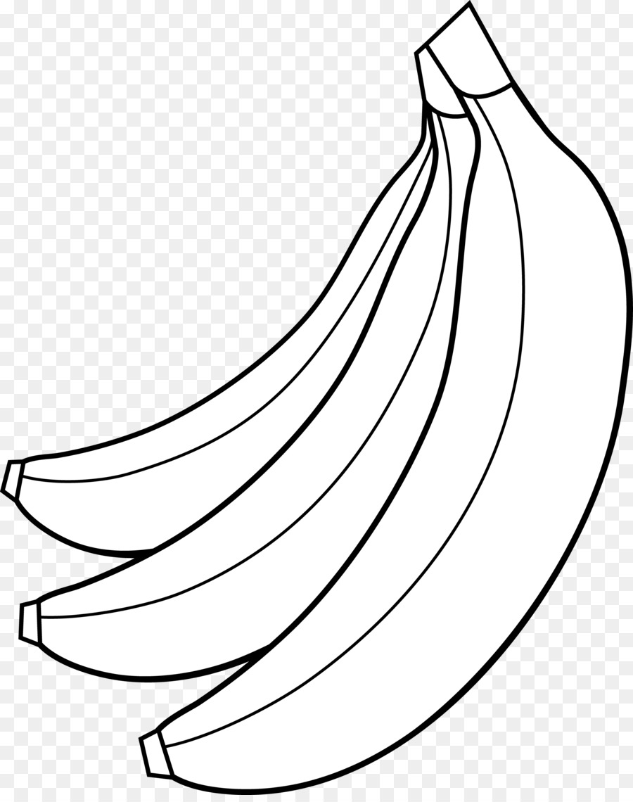Banana clipart line art. Split black and white