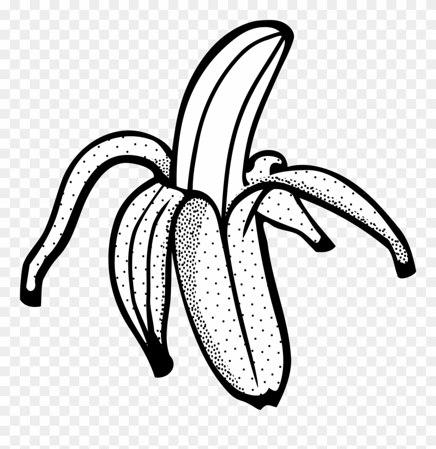Banana clipart line art. Black and white png