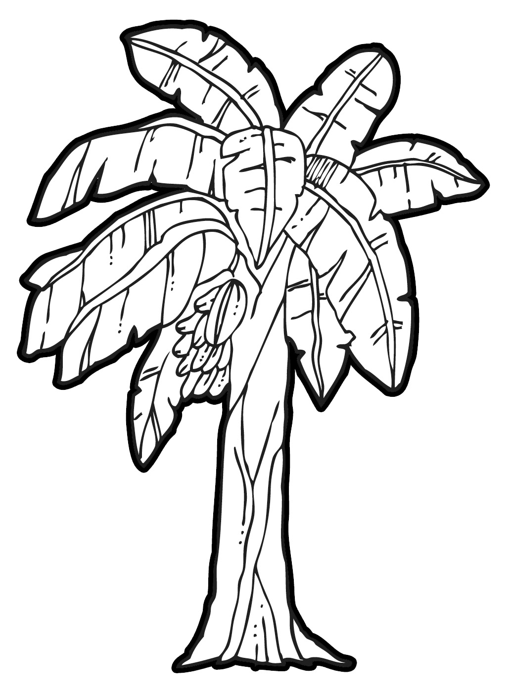 Banana clipart outline. Drawing of a tree