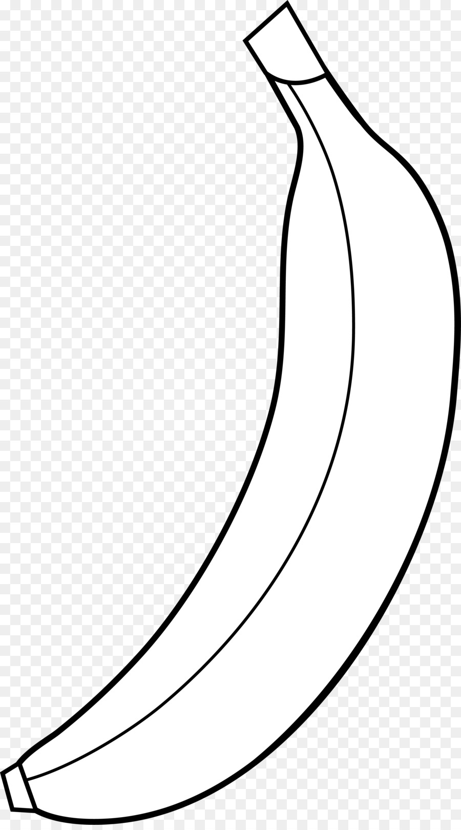 Banana clipart outline. Black and white drawing