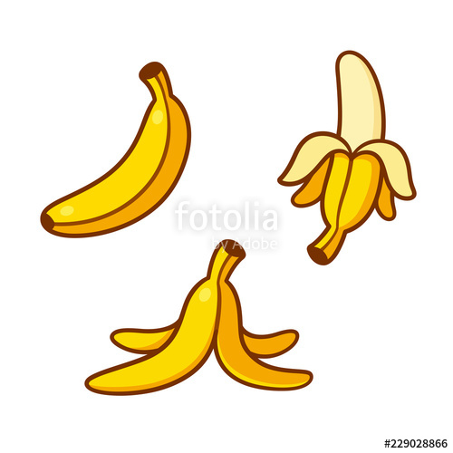 Cartoon bananas illustration set. Banana clipart reference