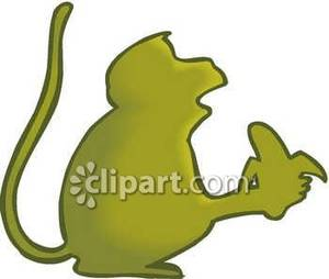 Banana clipart silhouette. Of a monkey with