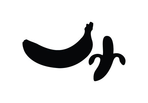 Pencil and in color. Banana clipart silhouette