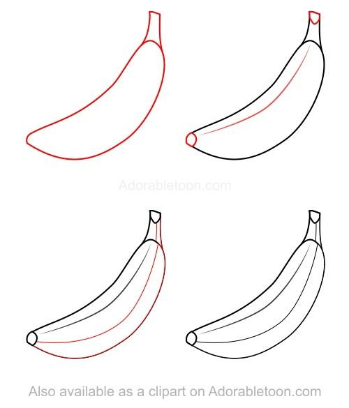 Banana clipart simple. How to draw a