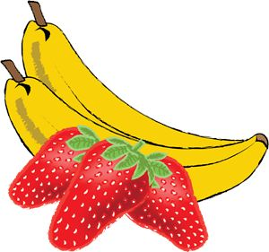 Toucandesigns digital art drawings. Banana clipart strawberry banana