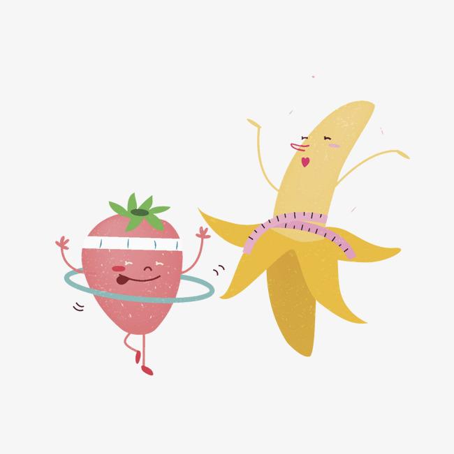 Cartoon vegetables decorative pattern. Banana clipart strawberry banana