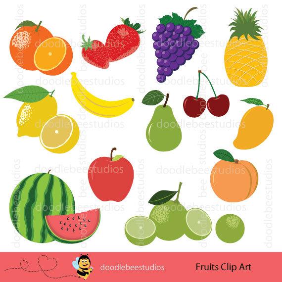 Banana clipart strawberry banana. Fruits clip art set