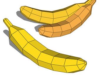 Banana clipart template. Pattern etsy papercraft fruit