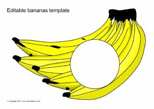 Food themed editable classroom. Banana clipart template