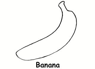 Banana clipart template. Colouring page also works