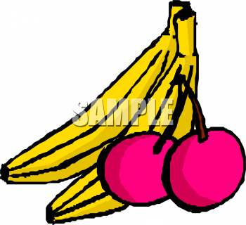 Banana clipart two. Bananas and red cherries