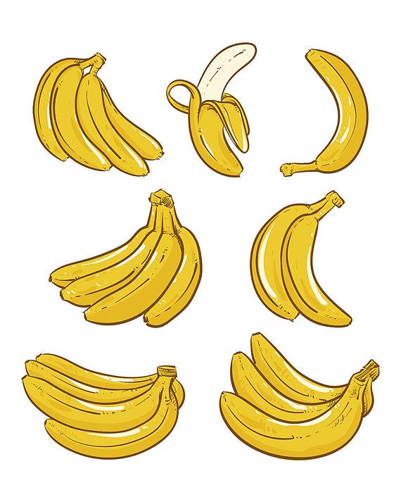 Banana clipart vector. Yellow bananas illustration overripe