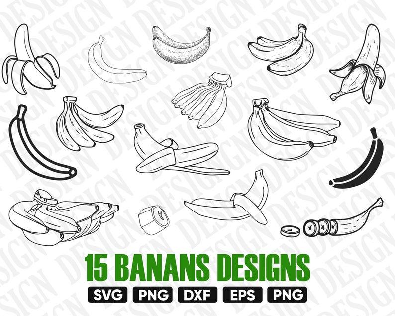 Banana clipart vector. Svg fruits selhuette bundle