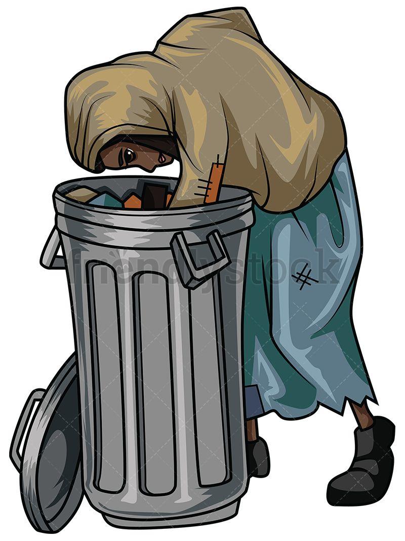 Banana clipart waste. Poor black woman looking