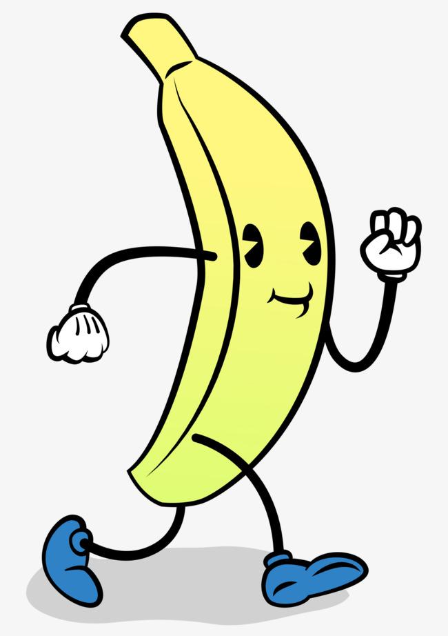 Cartoon hand painted running. Bananas clipart 4 banana