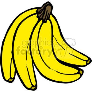 Banana clipart three. Yellow bunch royalty free