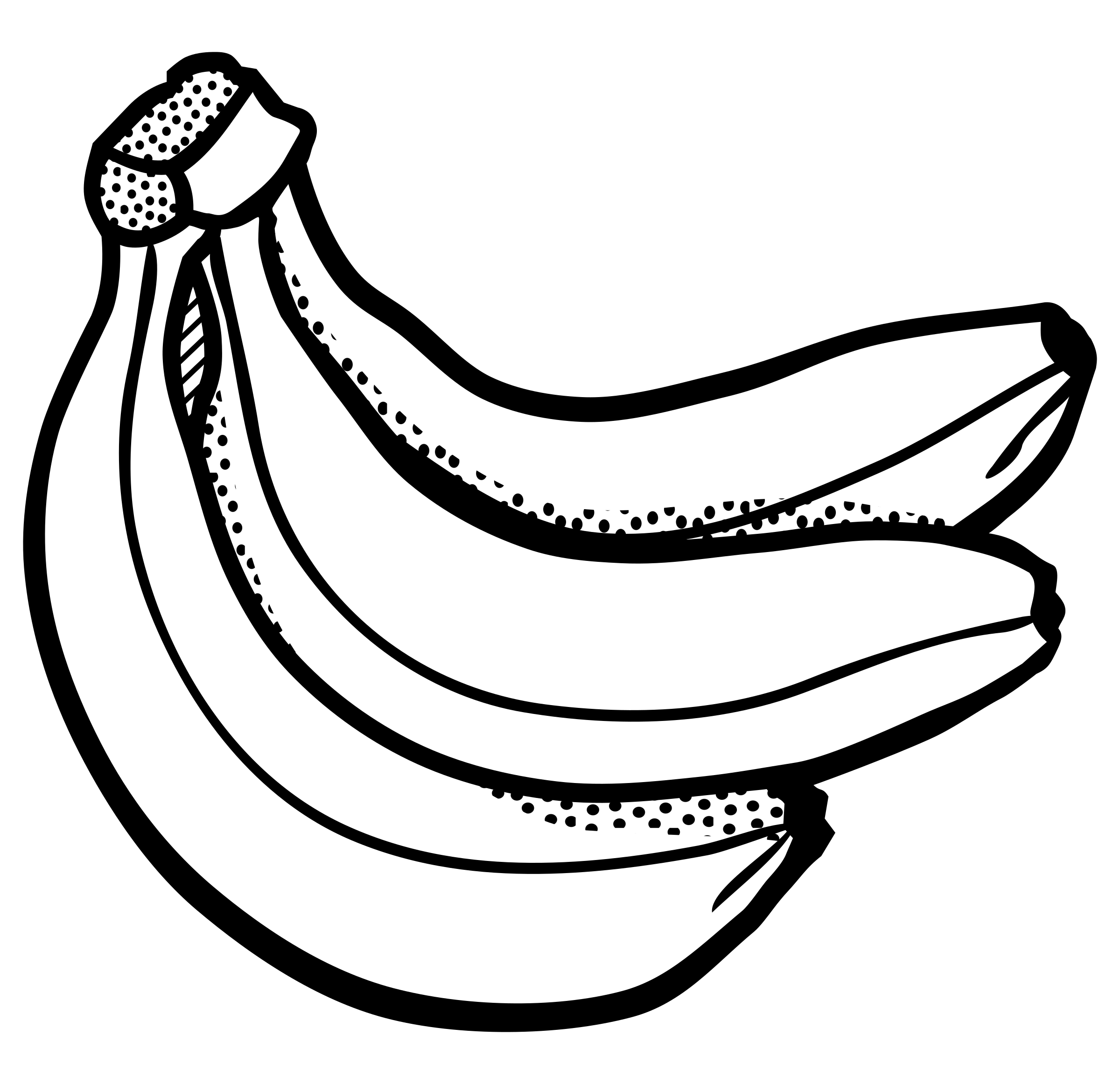Banana black and white. Firewood clipart bunch