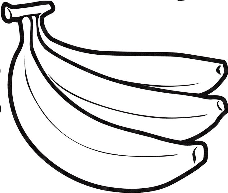 Drawn black and white. Banana clipart printable